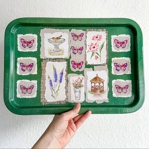 Vintage green butterfly floral metal tin tray boho